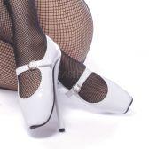 BALLET-08 Bílé extrémní baletní podpatky