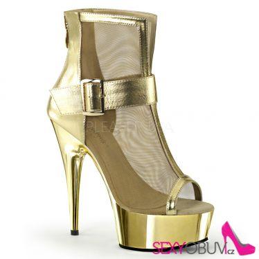DELIGHT-600-23 Moderní zlaté elegantní kotníčkové sexy boty na podpatku a platformě
