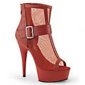 DELIGHT-600-23 Moderní červené elegantní kotníčkové sexy boty na podpatku a platformě