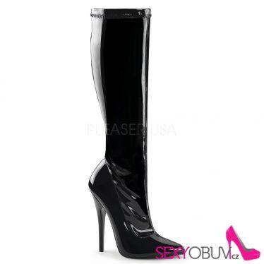 DOMINA-2000 Sexy černé kozačky na vysokém podpatku