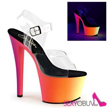 RAINBOW-308UV Svítící uv sexy boty na podpatku a platformě