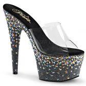 STARSPLASH-701 Sexy pantofle na podpatku a platformě s ozdobnými kamínky