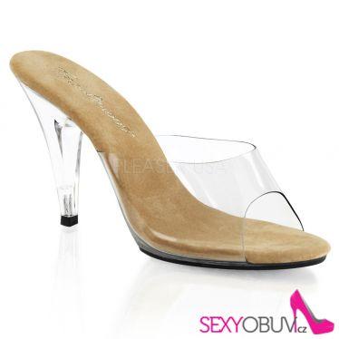 CARESS-401 Průhledné pantofle na podpatku hnědá stélka
