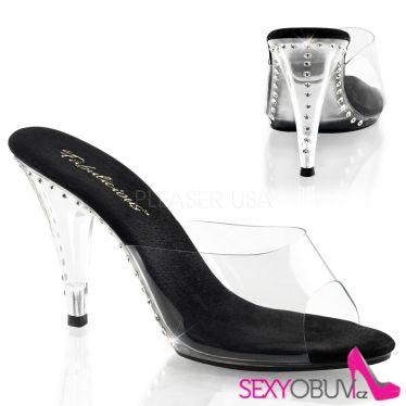 CARESS-401LS Pantofle na podpatku s ozdobnými kameny černá stélka