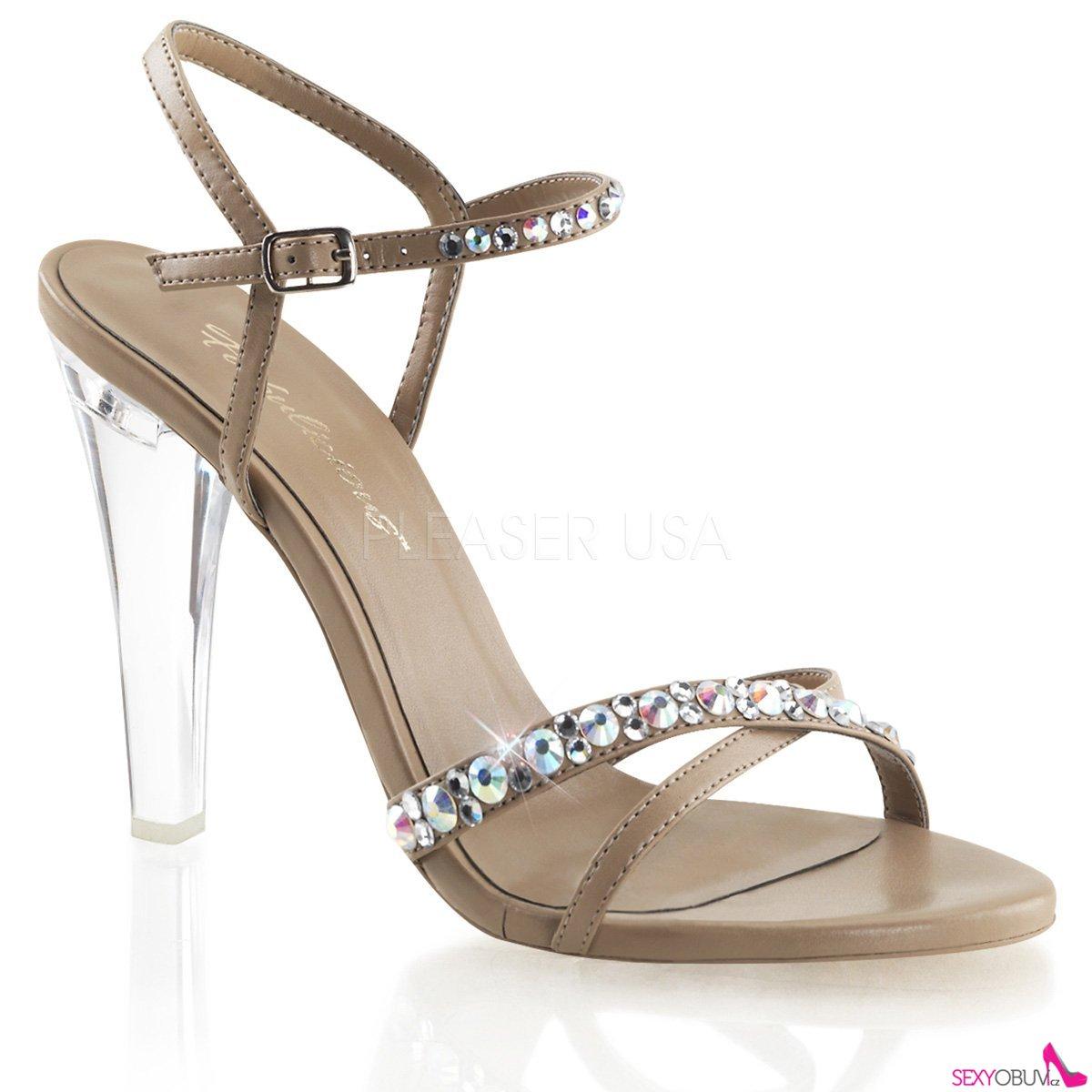 19b4d084757d CLEARLY-415 Průhledné hnědé společenské boty na podpatku