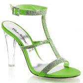 CLEARLY-418 Průhledné/zelené společenské boty na podpatku