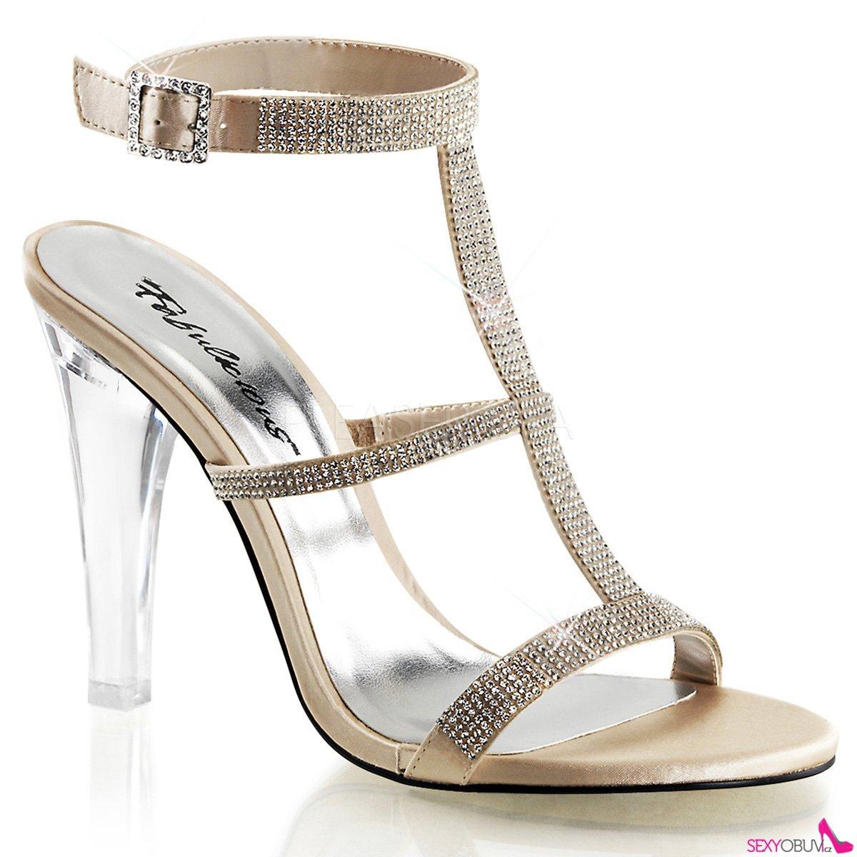 CLEARLY-418 Průhledná šampaň společenské boty na podpatku  9d32ba8a2d