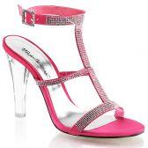 CLEARLY-418 Průhledná/světle červená společenské boty na podpatku