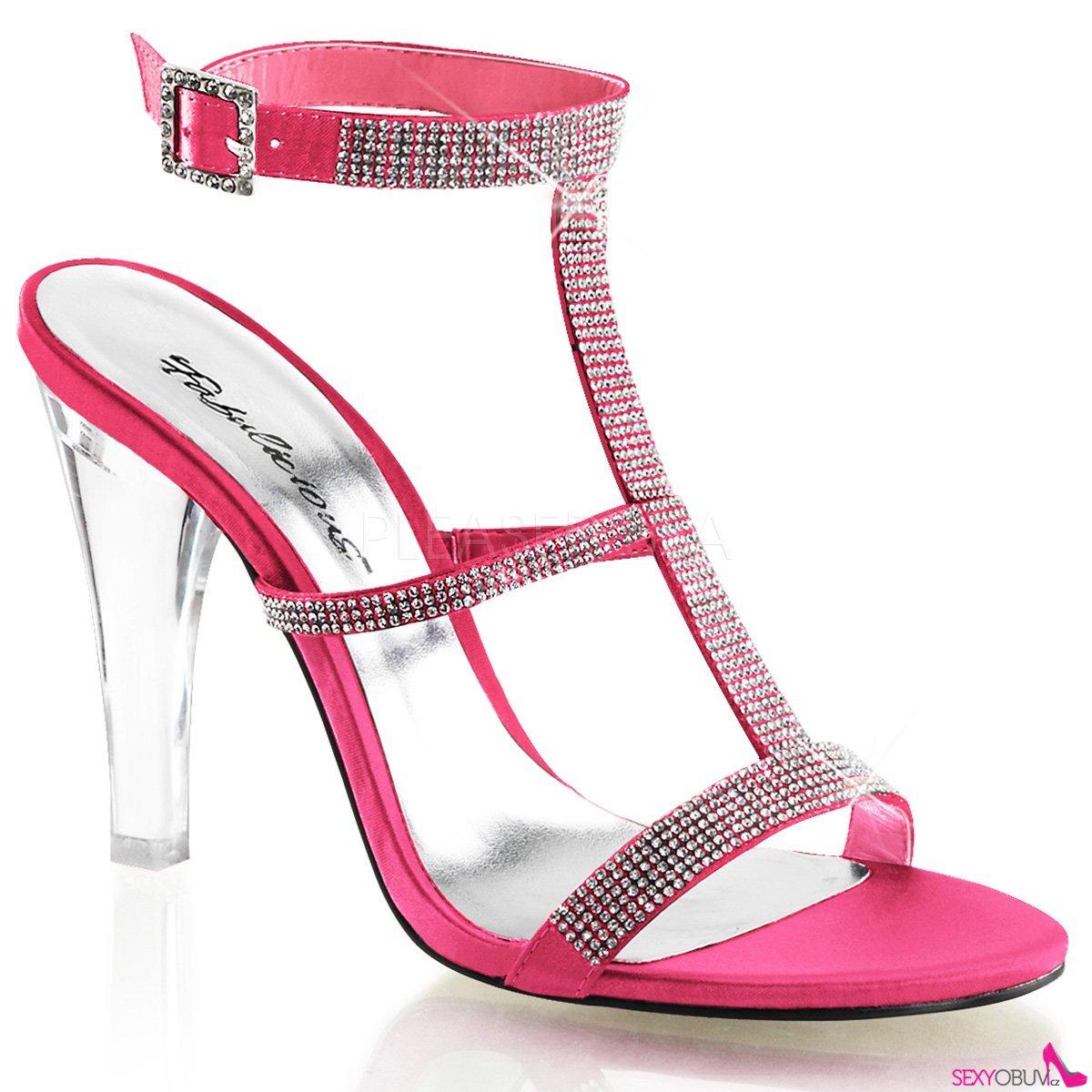CLEARLY-418 Průhledná světle červená společenské boty na podpatku ... cd7e03e6ae