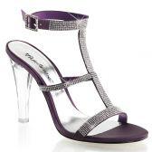 CLEARLY-418 Průhledná/fialová společenské boty na podpatku