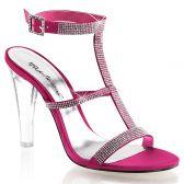 CLEARLY-418 Průhledné/růžové společenské boty na podpatku