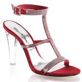 CLEARLY-418 Průhledné/červené společenské boty na podpatku