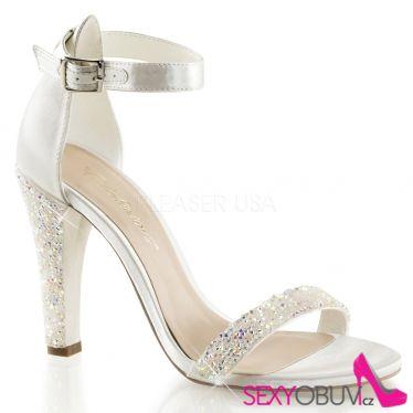 CLEARLY-436 Společenská obuv na podpatku slonovina