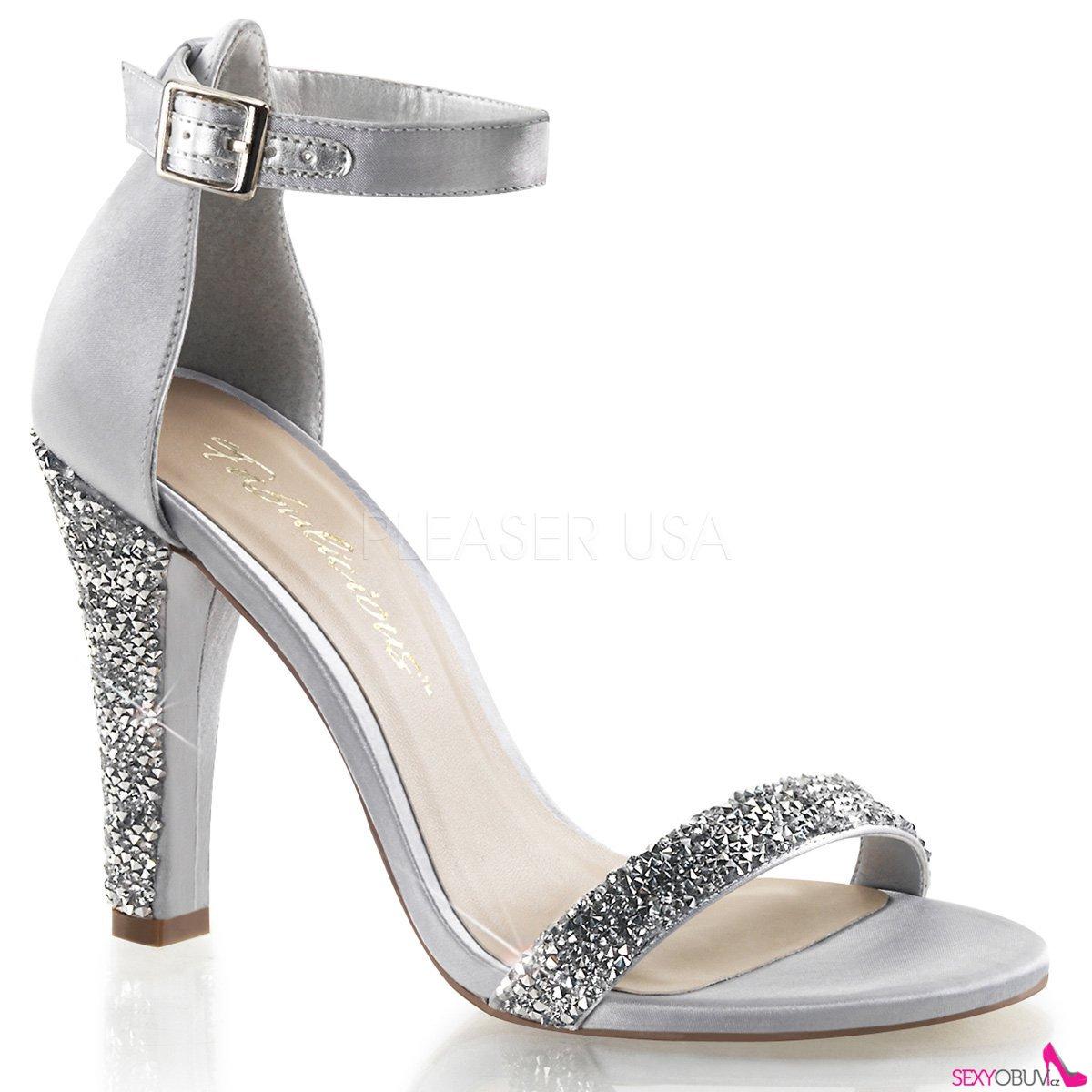 08e2b5b709a CLEARLY-436 Stříbrná společenská obuv na podpatku