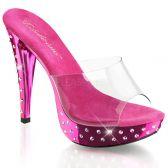 COCKTAIL-501SDT Luxusní sexy tmavě růžové pantofle na podpatku a platformě ozdobné kameny