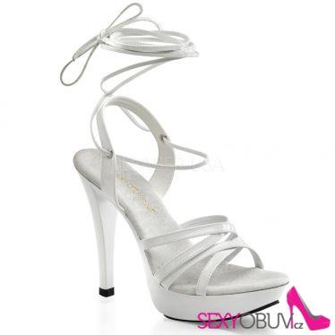 COCKTAIL-512 Luxusní bílá pásková společenská obuv na podpatku