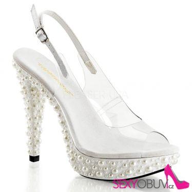 COCKTAIL-518 Luxusní bílá společenská obuv na podpatku