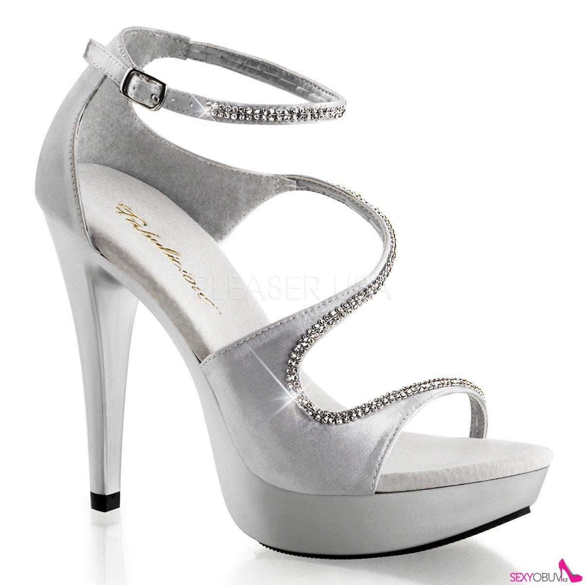 fa008ab055 COCKTAIL-526 Luxusní stříbrné společenské boty na podpatku