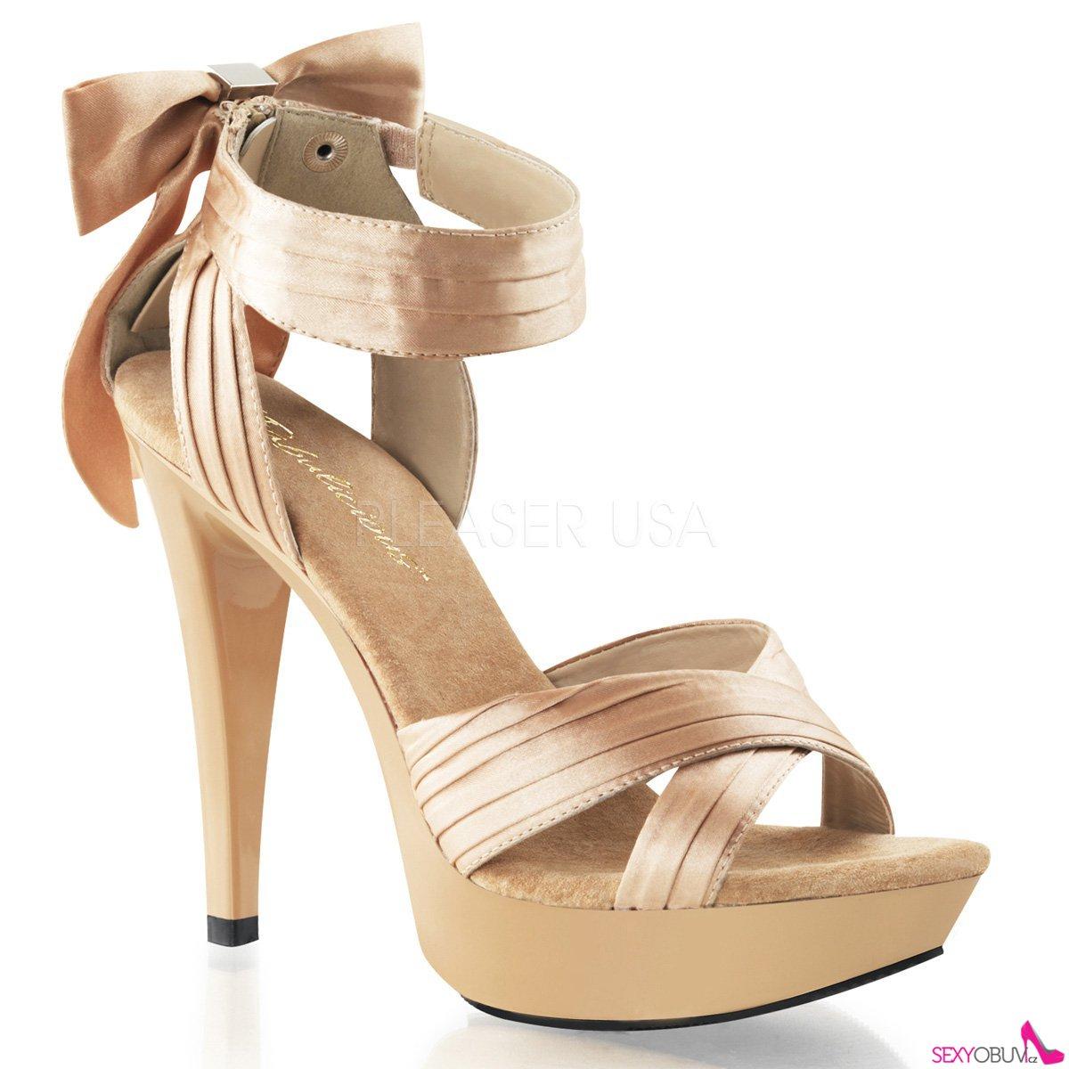 COCKTAIL-568 Luxusní šampaň společenské boty na podpatku  e5de478801