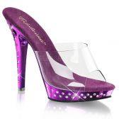 LIP-101SDT Luxusní fialové sexy pantofle na podpatku ozdobné kameny