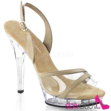 LIP-137 Plesová krémová obuv na podpatku