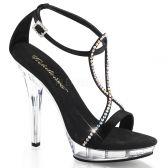 LIP-156 Páskové černé luxusní boty na podpatku