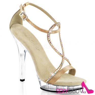 LIP-156 Páskové šampaň luxusní boty na podpatku