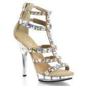 LIP-158 Páskové krémové luxusní boty na podpatku