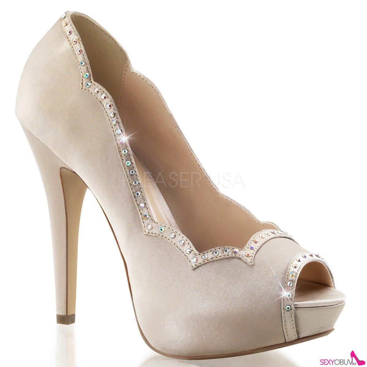 LOLITA-05 Šampaň luxusní dámské lodičky pleaser na podpatku a142fd7ca5