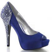 LOLITA-08 Modré luxusní dámské lodičky pleaser na podpatku