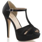 LOLITA-20 Černé luxusní dámské lodičky pleaser na podpatku