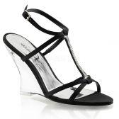 LOVELY-428 Plesová obuv na klínku černá/průhledná