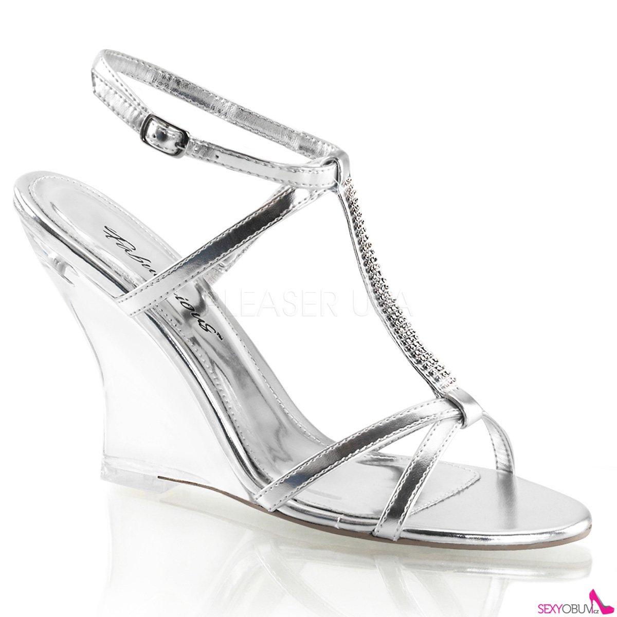 LOVELY-428 Plesová obuv na klínku stříbrná  057493d43c