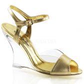 LOVELY-442 Plesová obuv na klínku zlatá