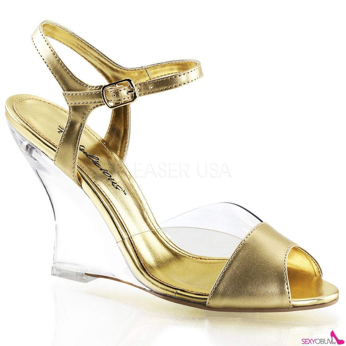 LOVELY-442 Plesová obuv na klínku zlatá 3dd52a0d39
