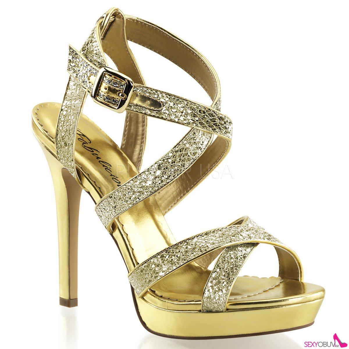 LUMINA-21 Zlaté dámské luxusní lodičky na podpatku  4c2cc0a597
