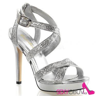 LUMINA-21 Stříbrné dámské luxusní lodičky na podpatku