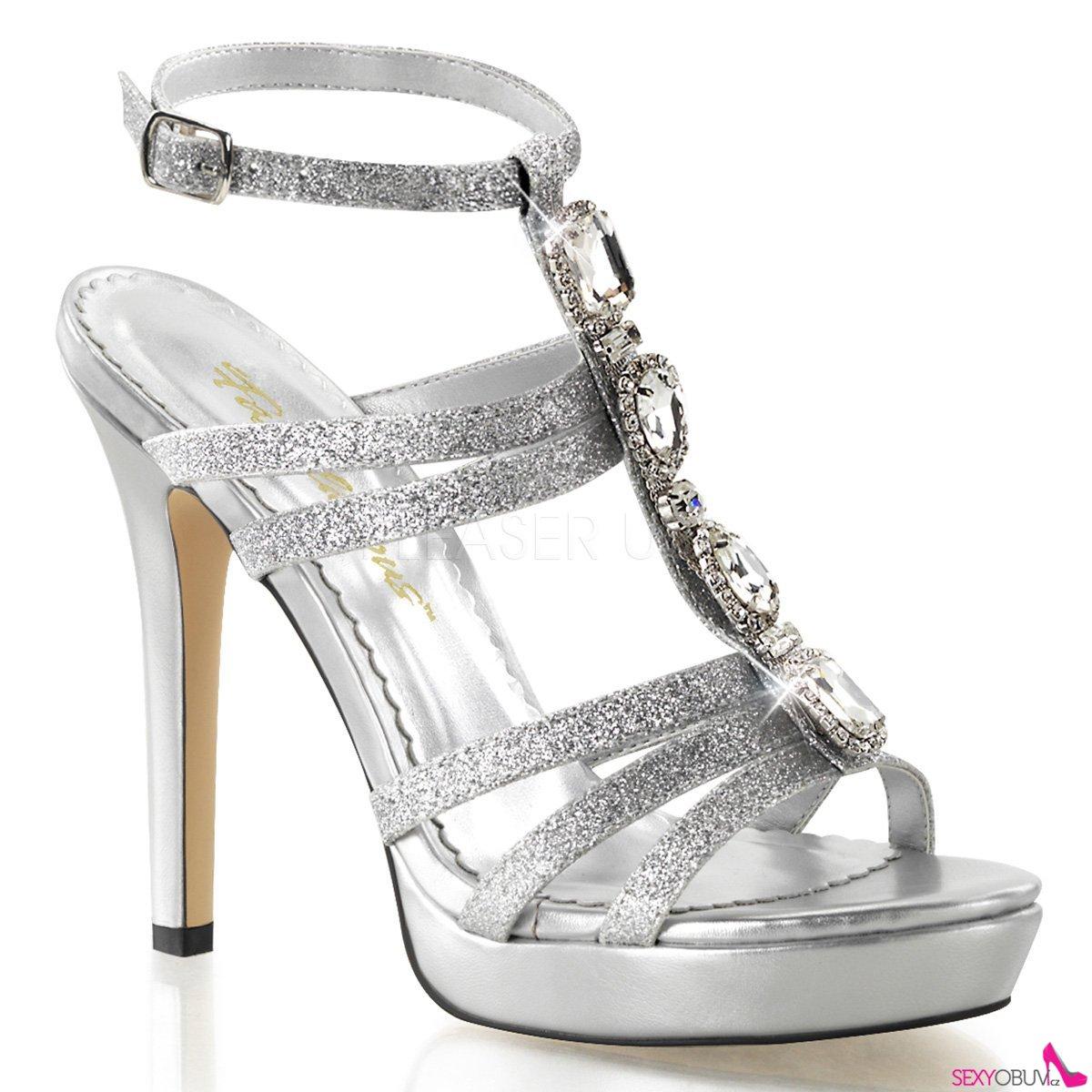 LUMINA-22 Stříbrné páskové dámské luxusní lodičky na podpatku ... 09b60ed414