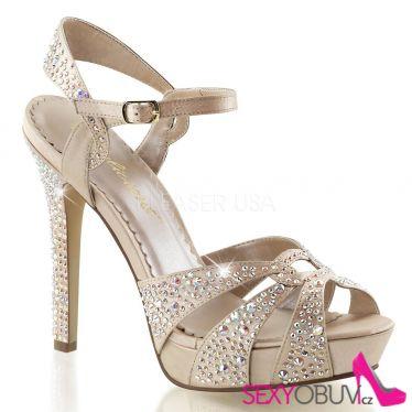 LUMINA-23 Šampaň páskové dámské luxusní lodičky na podpatku