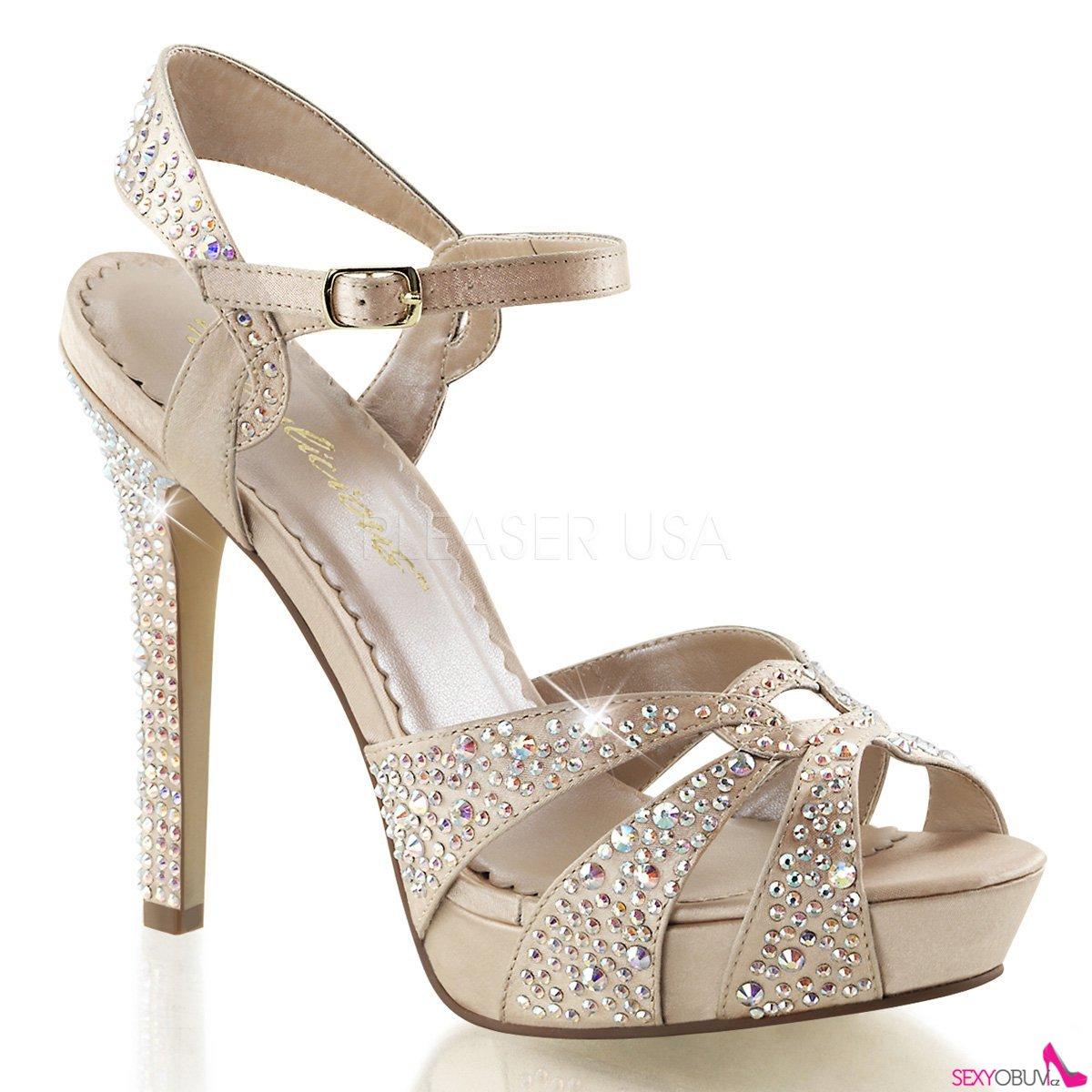 LUMINA-23 Šampaň páskové dámské luxusní lodičky na podpatku ... ceccbd336a