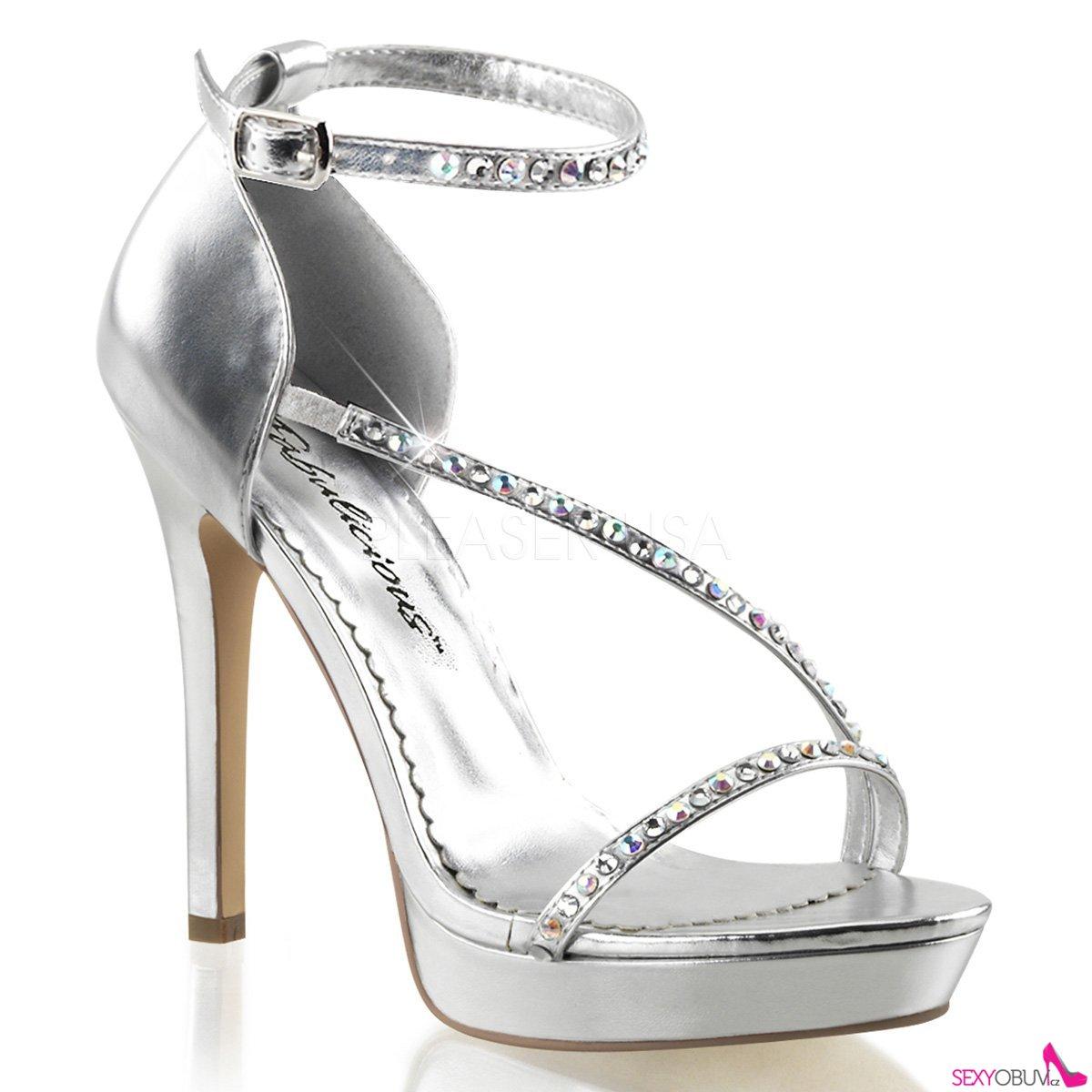 LUMINA-26 Stříbrné páskové dámské luxusní lodičky na podpatku ... e3c3c319a5