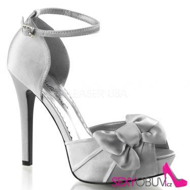 LUMINA-36 Elegantní stříbrné dámské lodičky na podpatku