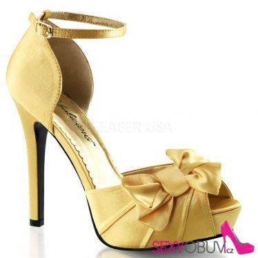 LUMINA-36 Elegantní zlaté dámské lodičky na podpatku