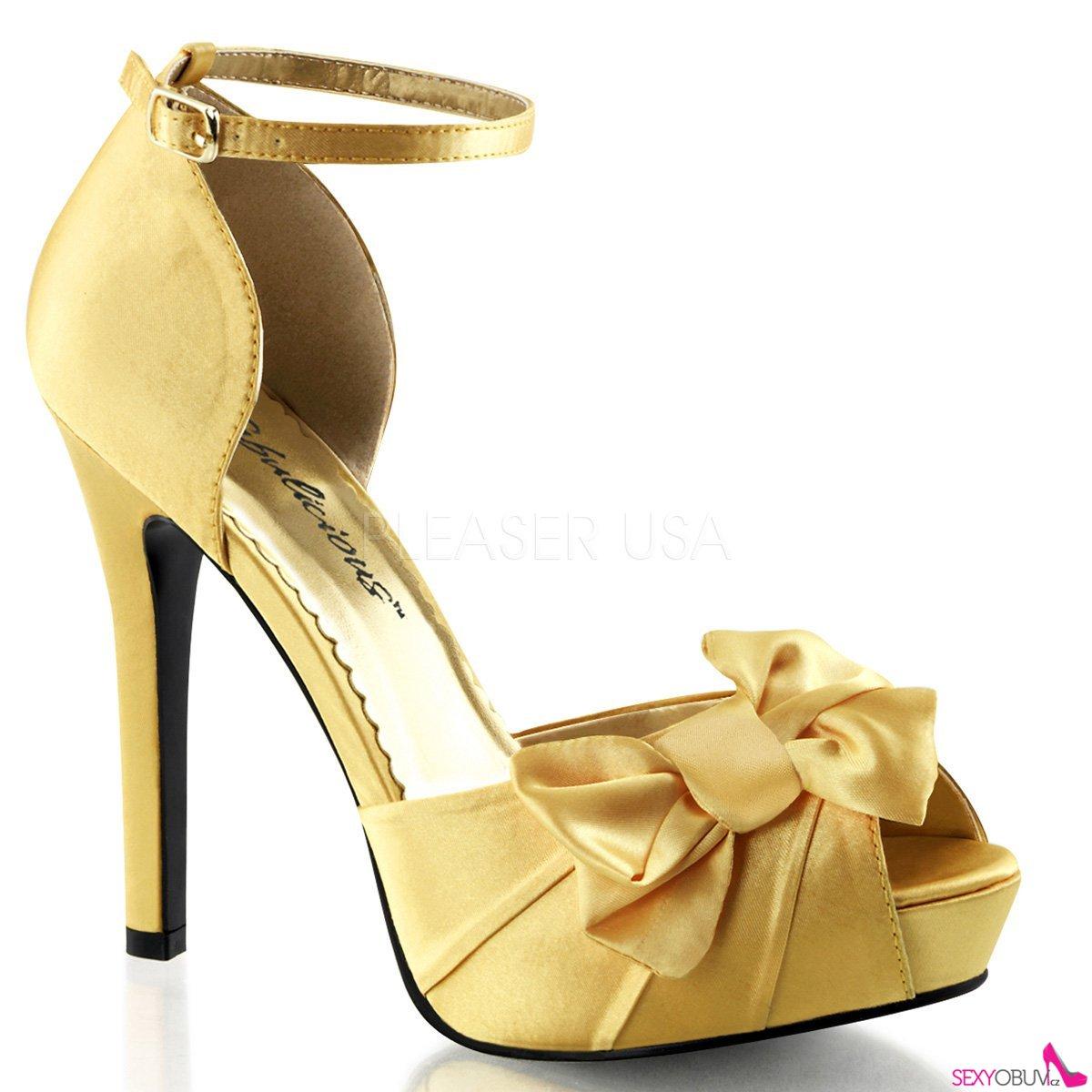 LUMINA-36 Elegantní zlaté dámské lodičky na podpatku  d950409086