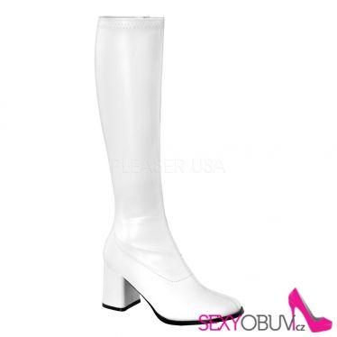 GOGO-300 Bílé matné kozačky na podpatku