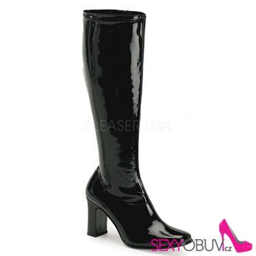 KIKI-350 Černé lesklé kozačky pod kolena na podpatku