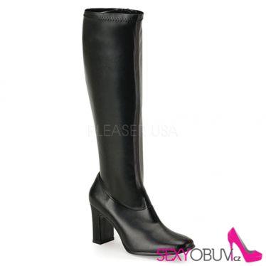 KIKI-350 Černé matné kozačky pod kolena na podpatku