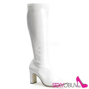 KIKI-350 Bílé lesklé kozačky pod kolena na podpatku