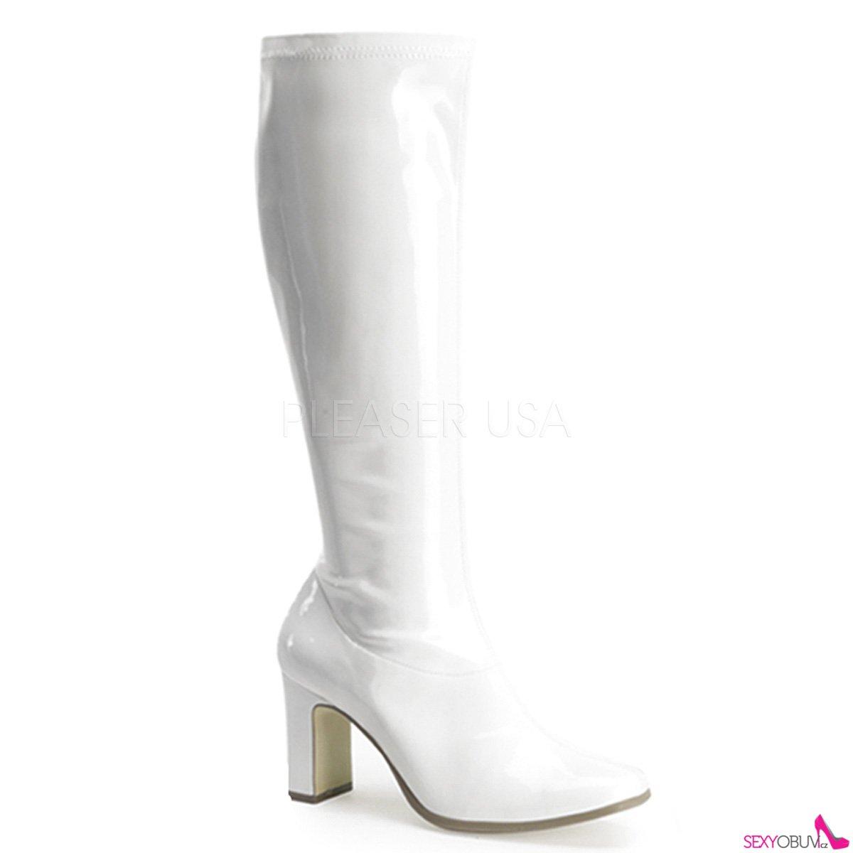KIKI-350 Bílé lesklé kozačky pod kolena na podpatku c6023ba42d