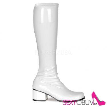 RETRO-300 Bílé dámské kozačky na nízkém podpatku